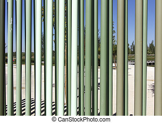 iron bars background in green