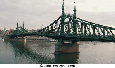 Iron Big Green Liberty Bridge in Budapest on the Danube...