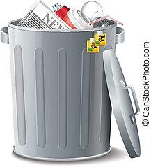 Iron Bin With Garbage