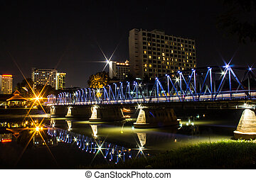 Iron Bridge At Night in Chiangmai Thailand