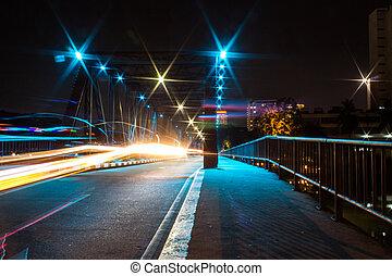 Iron Bridge At Night in Chiangmai Thailand