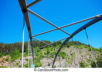 iron bridge construction against the blue sky