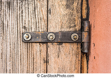 iron butt hinges door with old wood pattern
