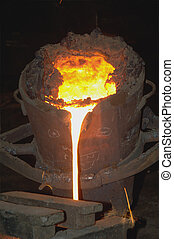 Iron Casting - Industrial metallurgy.Molten metal in the...