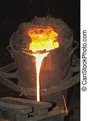 Iron Casting - Industrial metallurgy.Molten metal in the...