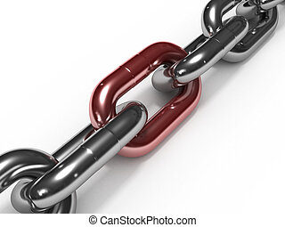 Iron chain with red link isolated on white background