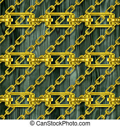 Iron Chain with wood fence texture