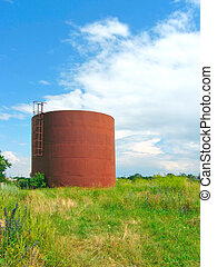 Iron cistern on the field