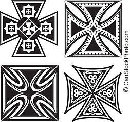Iron Crosses - Collection of four, square iron crosses
