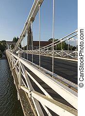 iron detail of old suspension bridge, Marlow