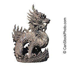 Iron dragon statue, Imperial palace, Hue, Vietnam. Object isolated over white