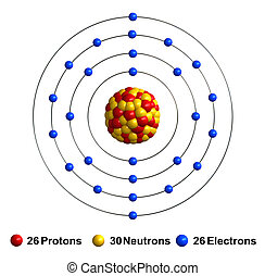 Iron - 3d render of atom structure of iron isolated over...