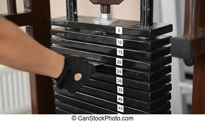 iron dumbbells lie in a row at the gym - Iron dumbbells lie...