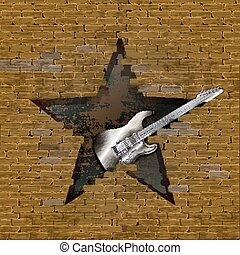 Iron electric guitar in breach of a brick wall