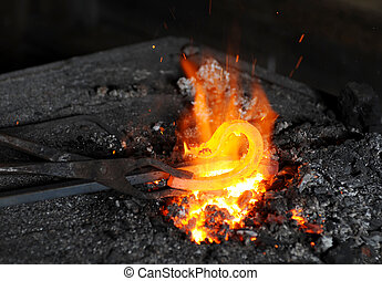 forge - Iron element is heated in a forge