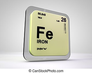 Iron - Fe - chemical element periodic table 3d render