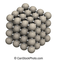 Iron (Fe, ferrite) metal, crystal structure.