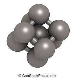 Iron (Fe, ferrite) metal, crystal structure. Unit cell.