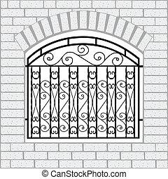 Iron fence black with white bricks