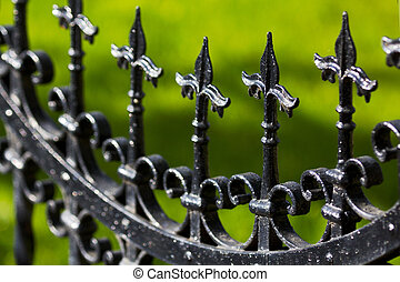 Black painted iron fence close up. Note: Shallow depth of field