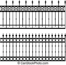 iron fence - vector illustration of iron fence