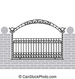 Iron fence with bow