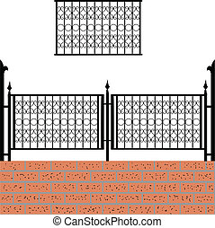 Iron fence with bricks