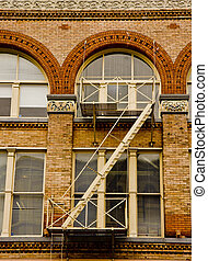 Iron Fire Escape on Old Brick Building