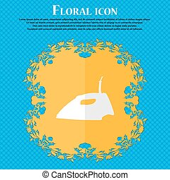 Iron. Floral flat design on a blue abstract background with place for your text. Vector