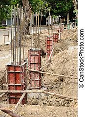 Iron formwork concrete foundation at building yard