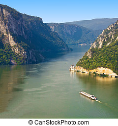 Iron Gate Danube - The ship passes through the narrowest...