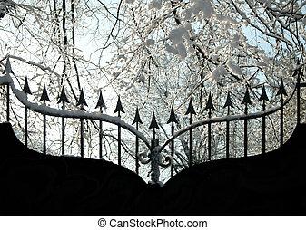 Iron gate in winter