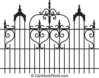 Iron Gates - Wide iron gates with curly design isolated...