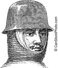 Iron hat or Kettle hat vintage engraving