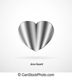 Iron heart with shadow on a white background