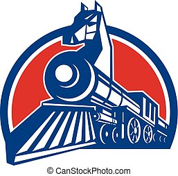 Iron Horse Locomotive Circle Retro - Retro style...