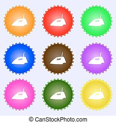 Iron icon sign. A set of nine different colored labels. Vector