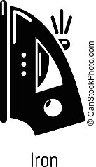 Iron icon, simple black style