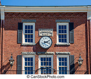 Iron Light Fixtures on Old Brick Building - Old Morrison...