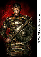 iron man - Portrait of a courageous ancient warrior in armor...