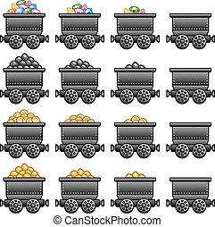 Iron mine cart set