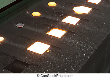 Iron molten metal is poured in sand mold