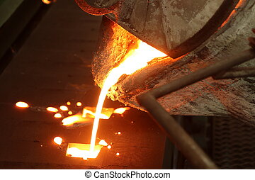 Iron molten metal pouring in sand mold