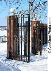 Iron open gate in the city of winter Park
