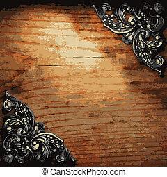 iron ornament on wood