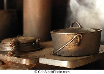 An iron pot on a stove