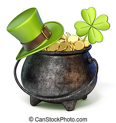 Iron pot full of golden coins, Green St. Patrick's Day hat and clover 3D