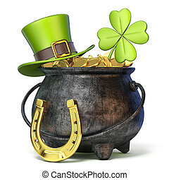 Iron pot full of golden coins, Green St. Patrick's Day hat, clover and horseshoe 3D