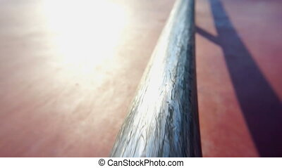 Iron rail at the skate park. Action movie. - Iron rail at...