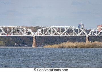 Iron railway bridge. - Iron railway bridge over the river.
